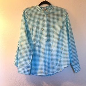 Crown &Ivy plaid palm tree popover blouse